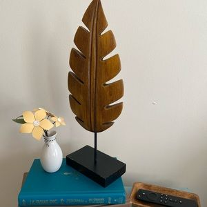 Boho wooden leaf/feather decor bookend